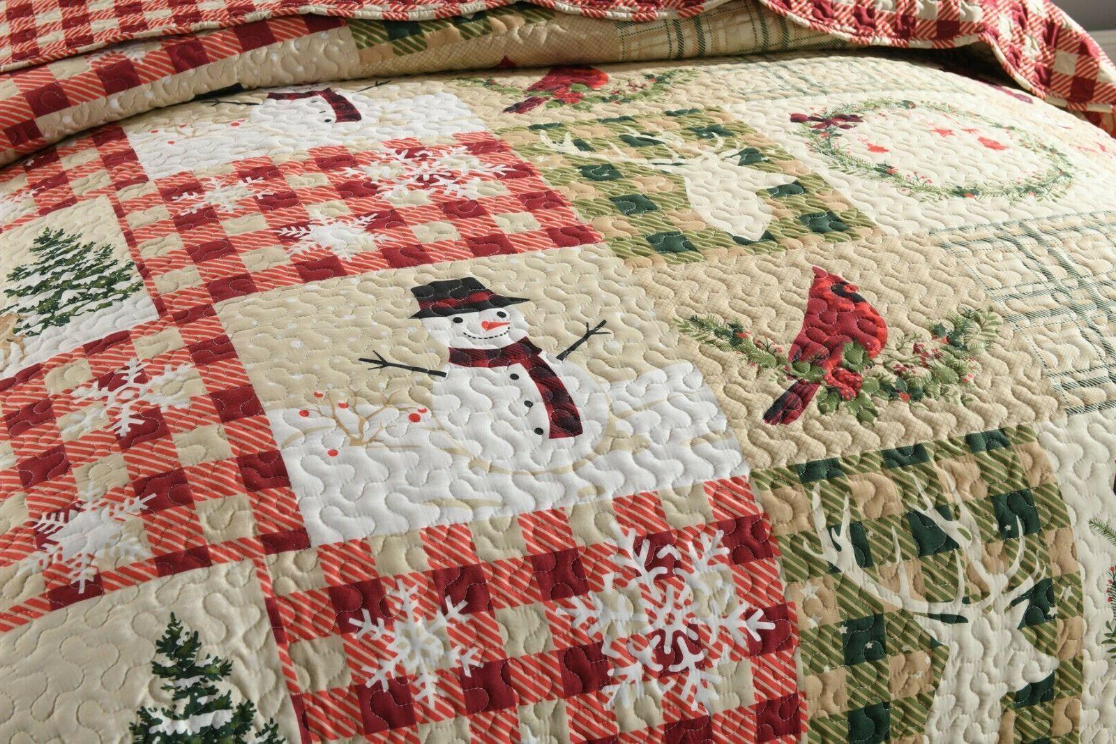 3 Christmas Rustic Lodge Bedspread Set Snow Man