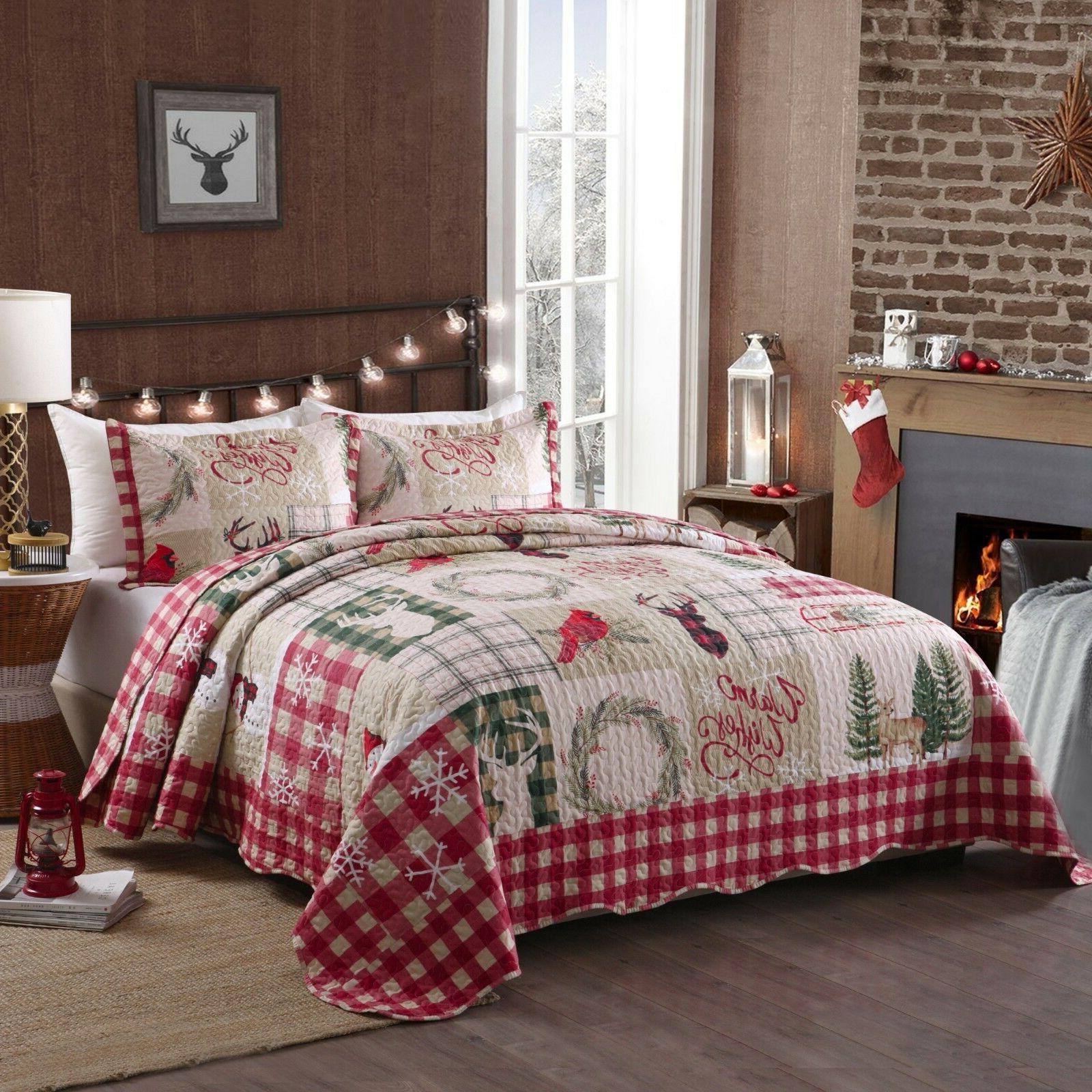 3 Piece Christmas Rustic Western Lodge Bedspread Man