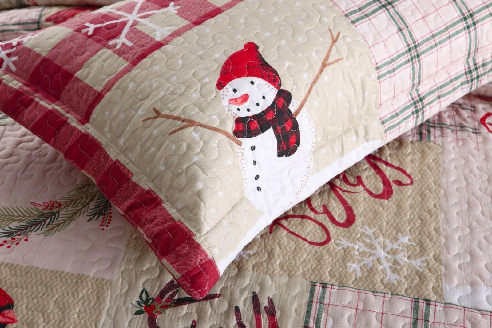 3 Rustic Cabin Bedspread Snow Man