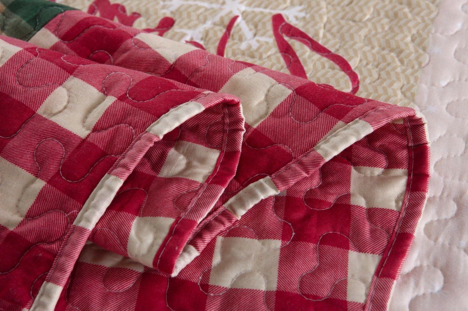 3 Christmas Rustic Bedspread Quilt Snow Man