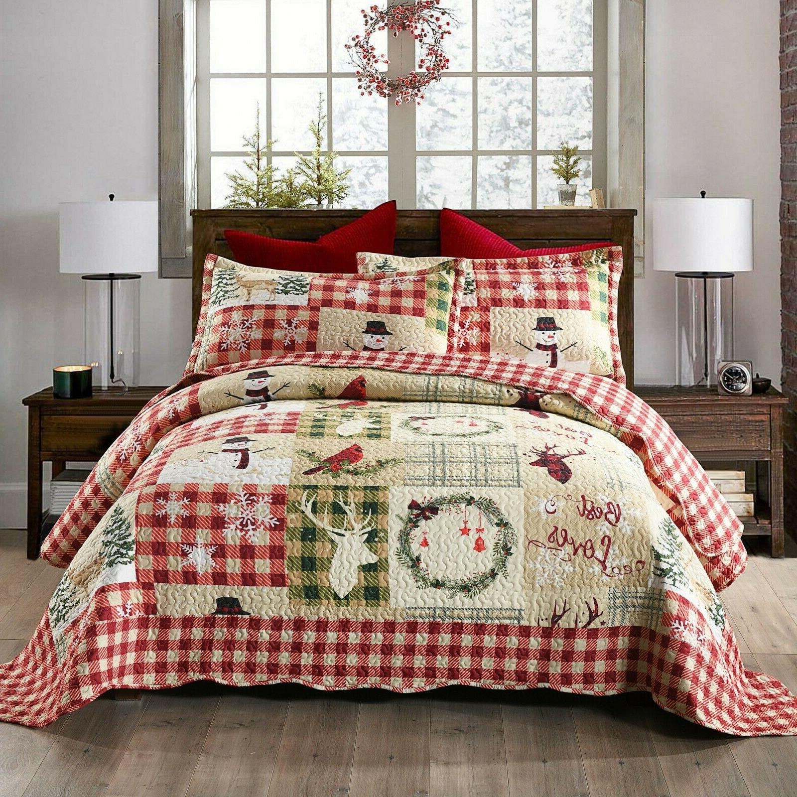 3 piece christmas quilt lodge cabin bedspread
