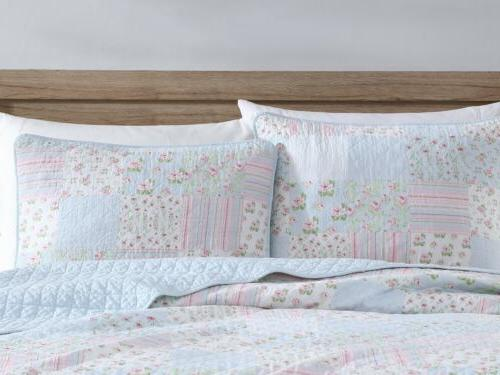 Blue Floral Pre-Washed Cotton Quilt Set Shabby Chic Bedding Coverlet Set