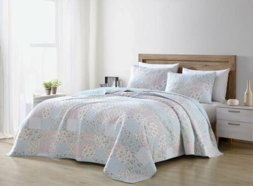 Blue Pink Floral Pre-Washed Cotton Quilt Set - Shabby Chic B
