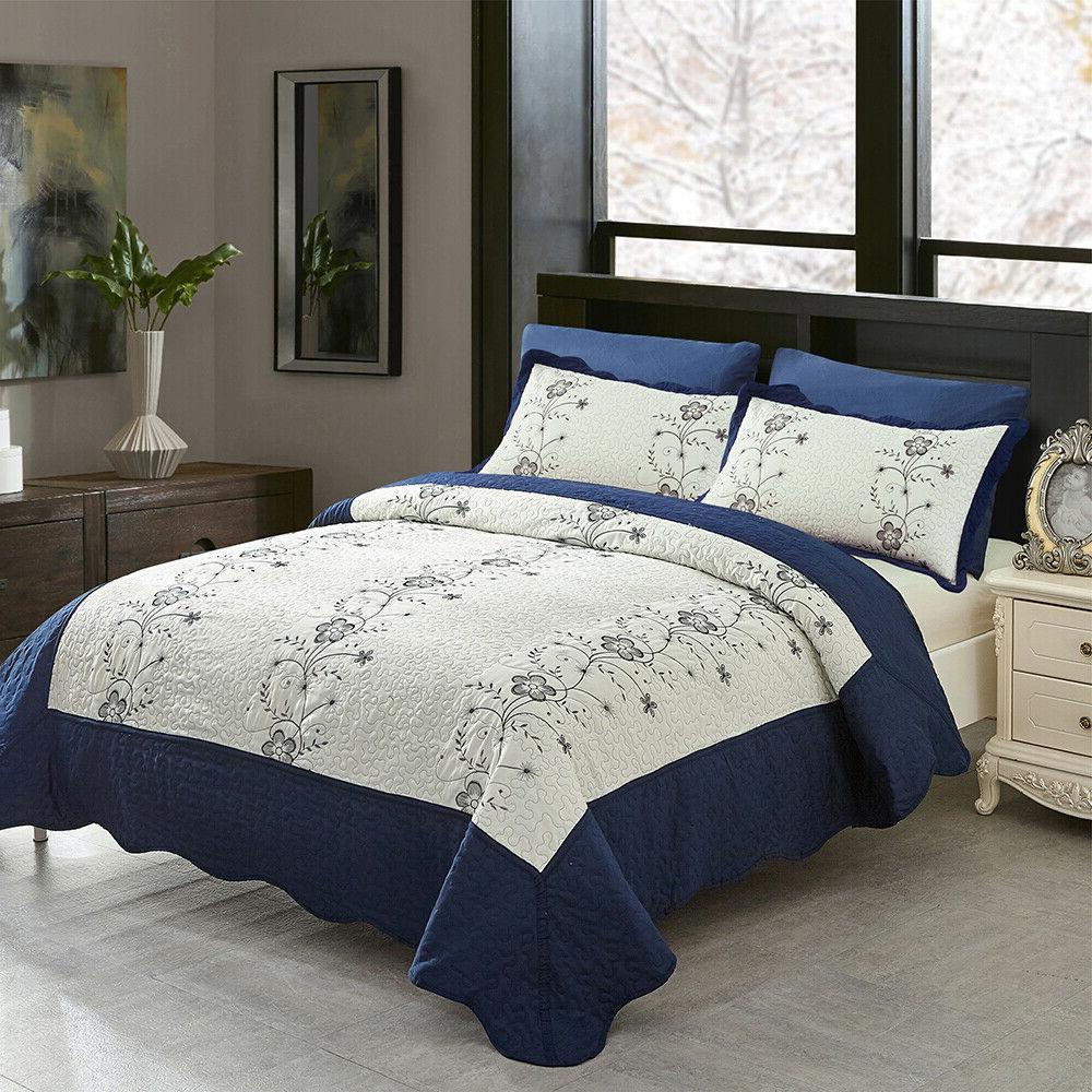 3 Piece Size Quilt Set Blanket Bedspread w/ shams