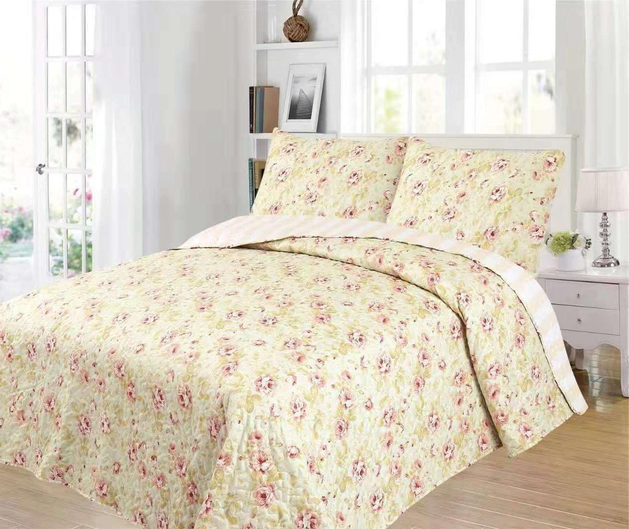 Chinese Rose Quilt Set King Floral Reversible