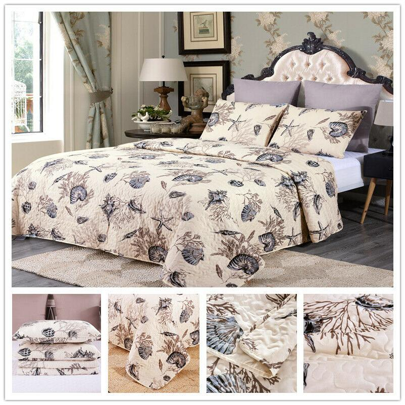 3Pc Quilt Set Bedspread Bedding Coverlet Set Floral King