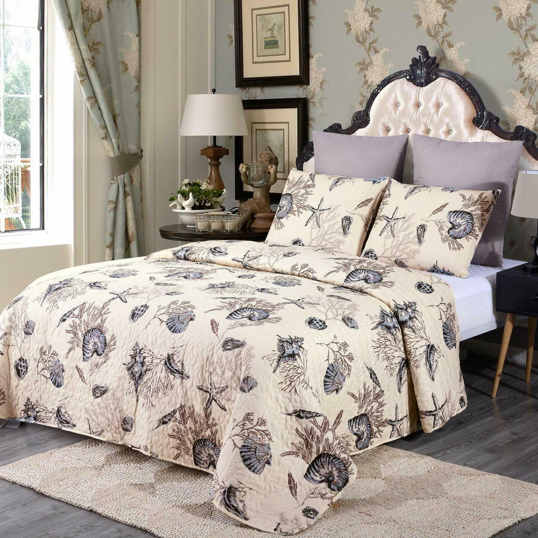 3-Piece Set Bedspread Spring Rose Floral Reversible