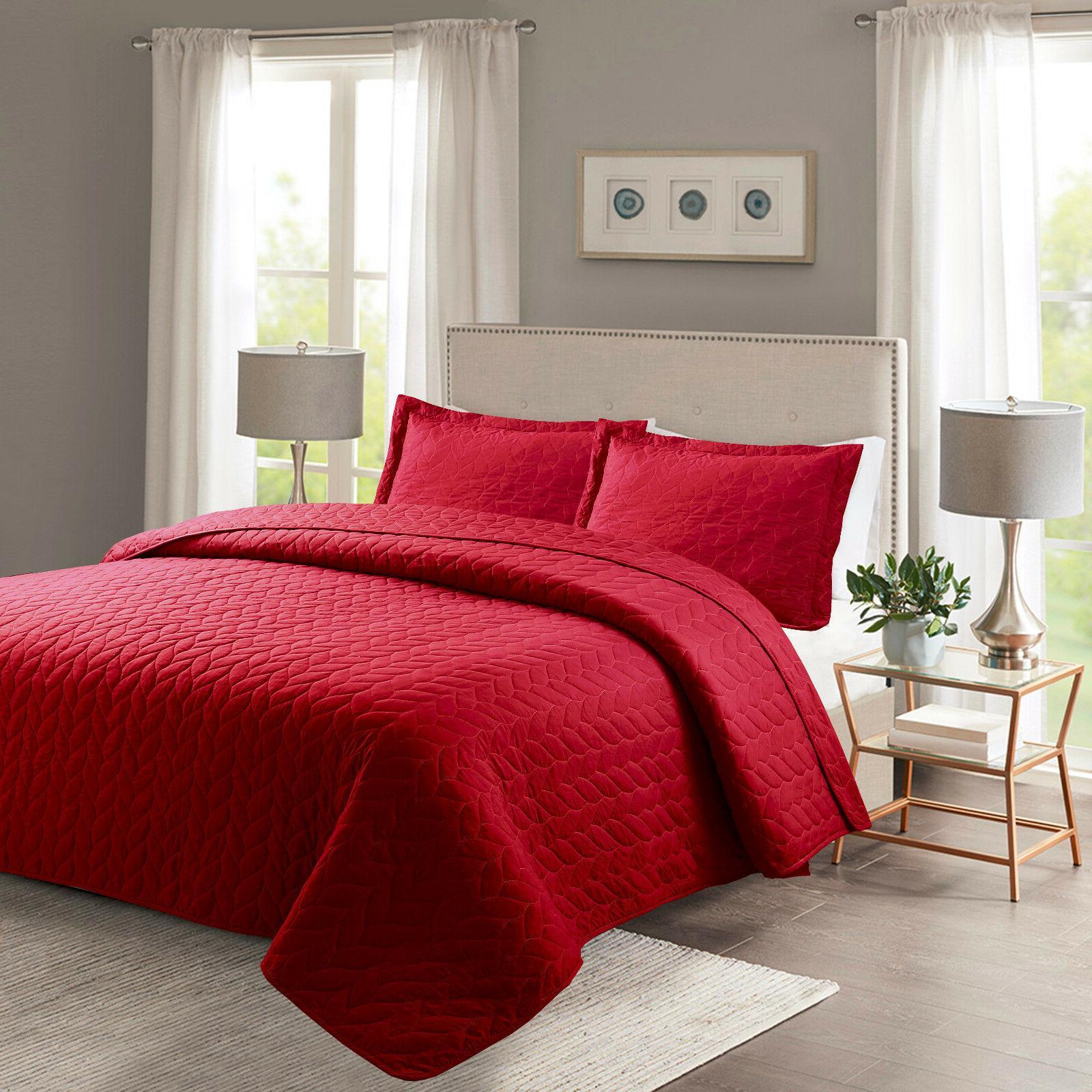 3 piece lightweight bedspread quilt set microfiber