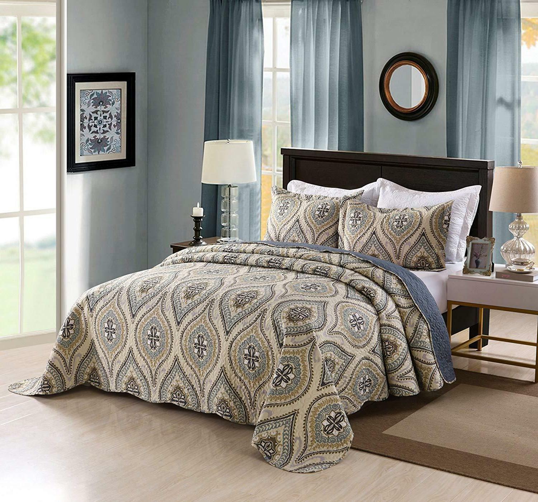 3 piece lightweight quilt king printed quilt