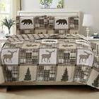 3-Piece Lodge Quilt Set with Shams. Durable Cabin Bedspread