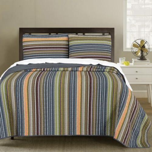 3 piece multi striped reversible cotton bedspread