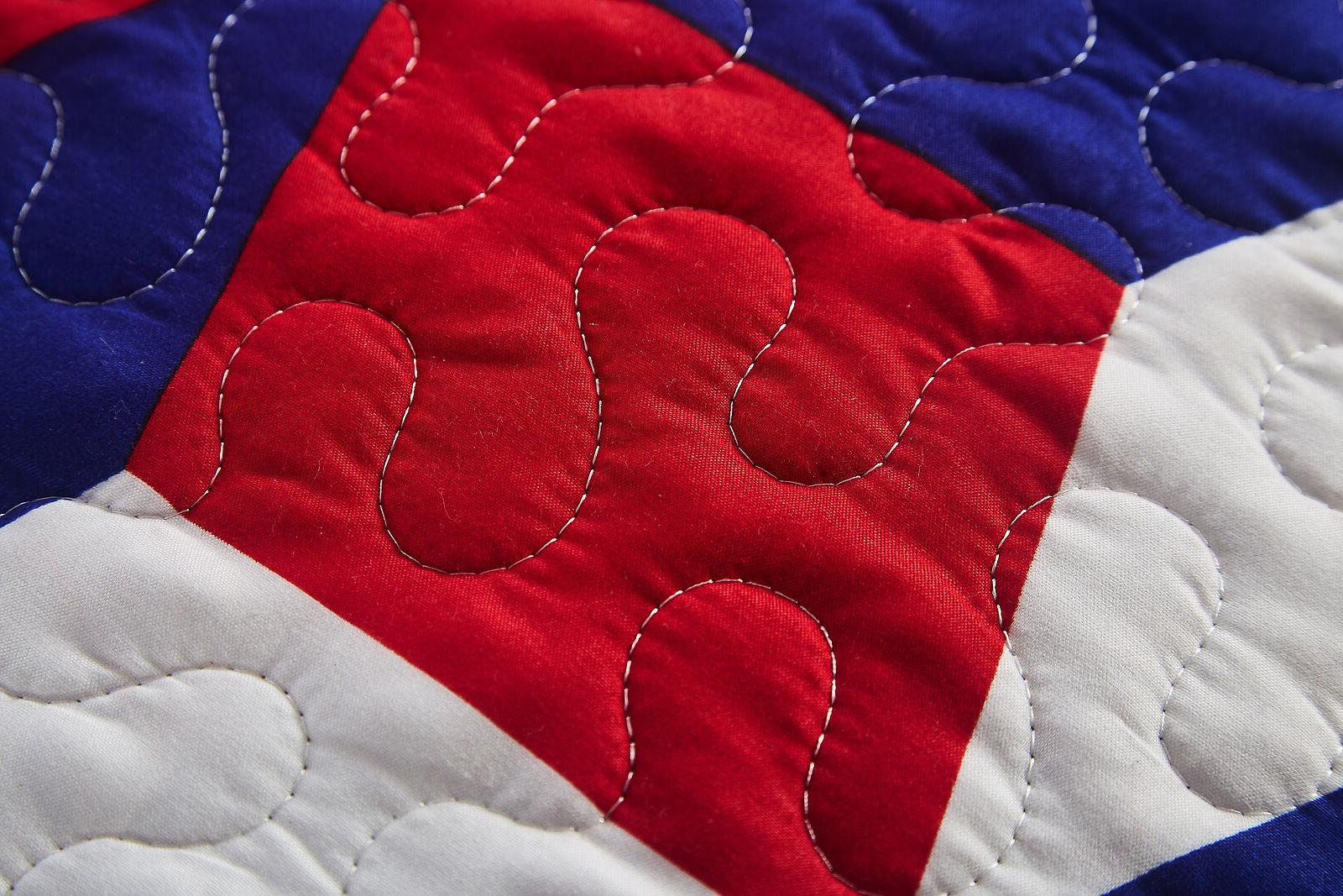 3 piece King Quilt America Red White Blue Microfiber