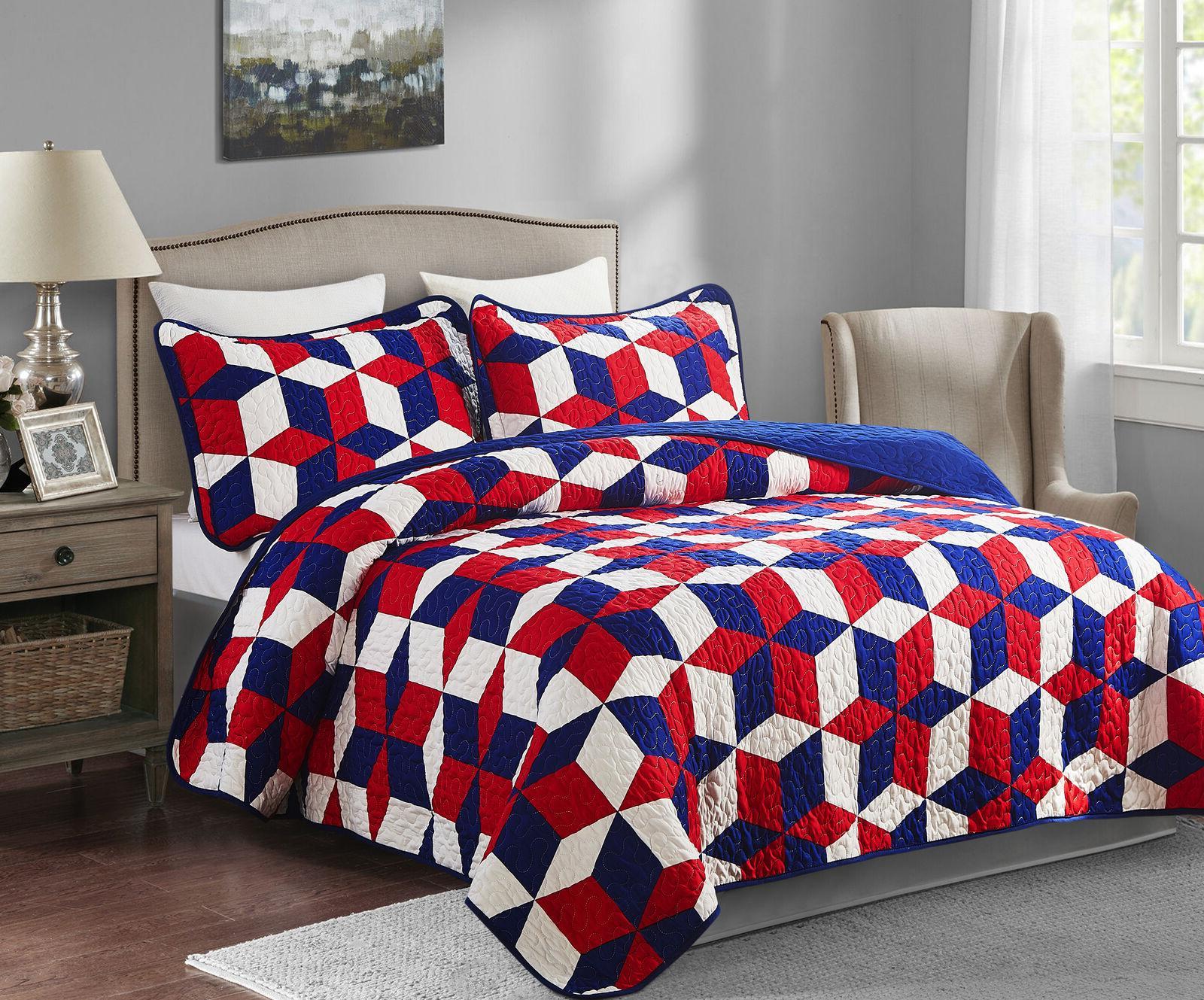3 piece patriotic oversized king quilt set