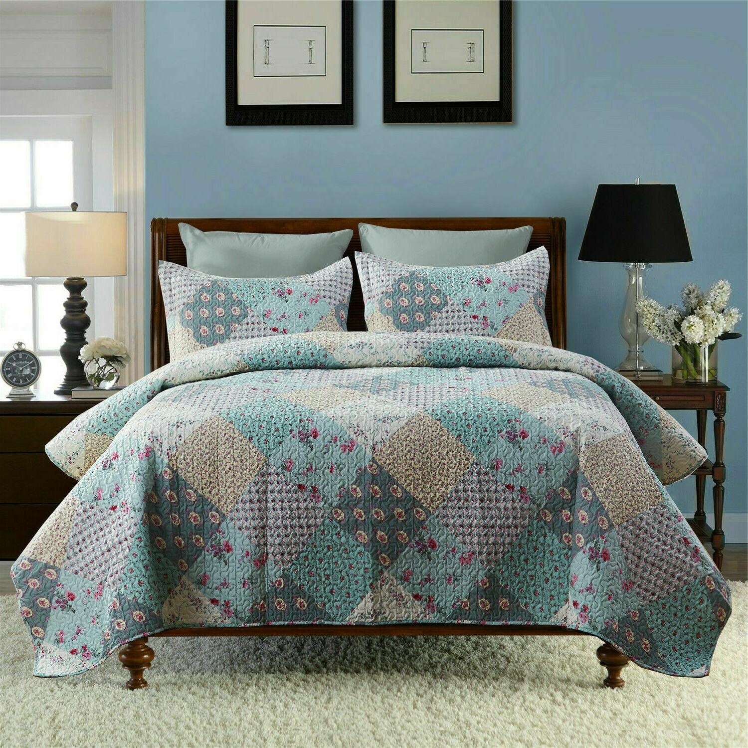 3 Piece Lightweight Bedding Quilt Quilt And 2 Queen