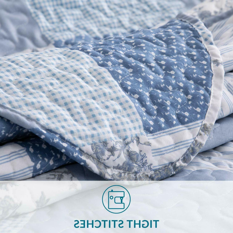 Bedsure 3-Piece Set Queen/Full Blue Floral Pa