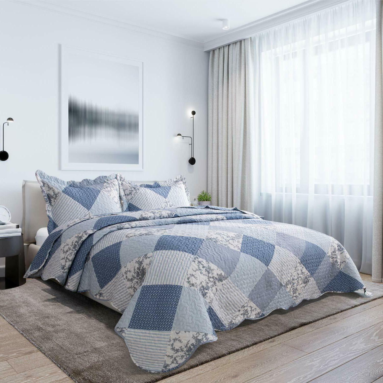 Bedsure 3-Piece Printed Blue Floral