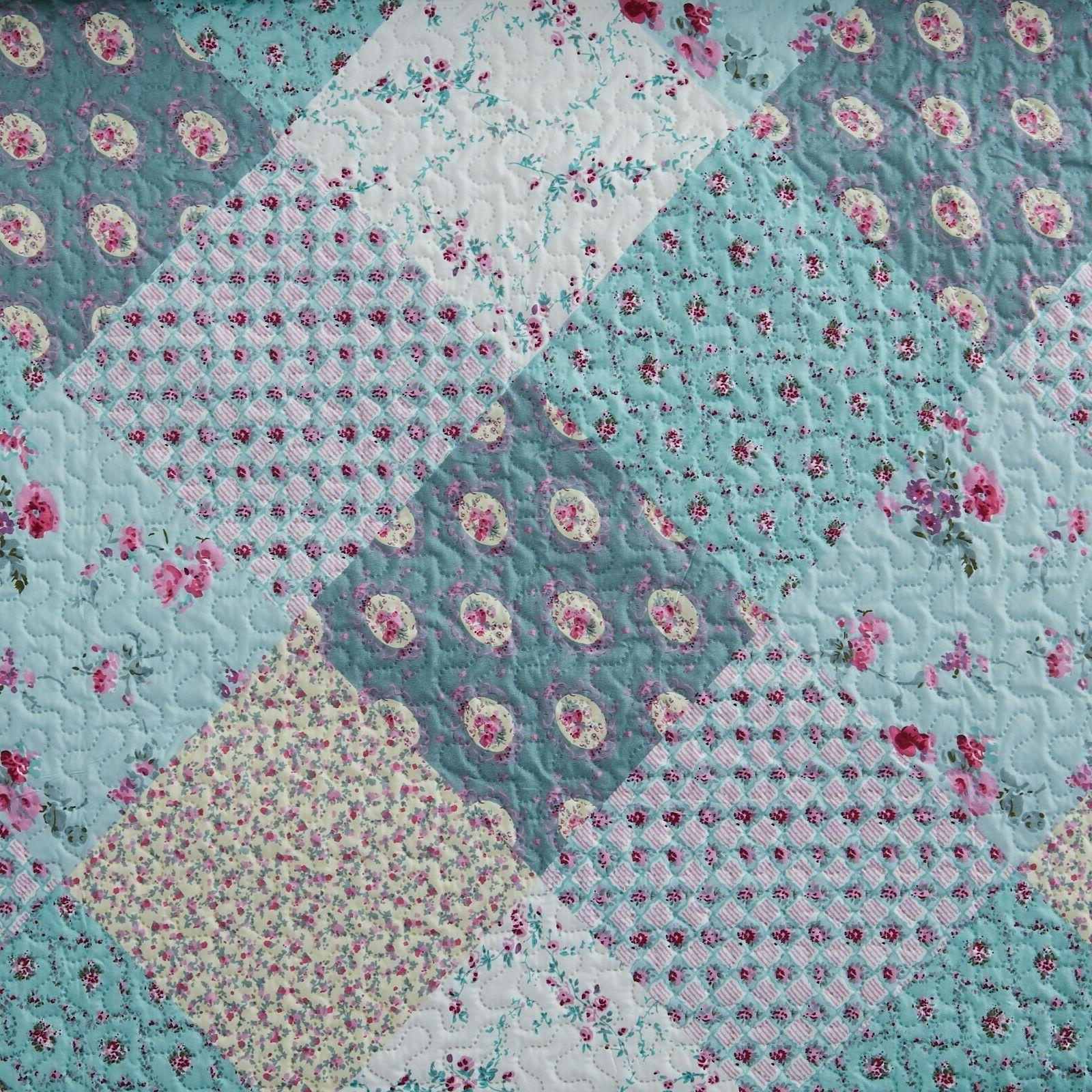 3 King Quilt Plaid Bedspread Bedding Set