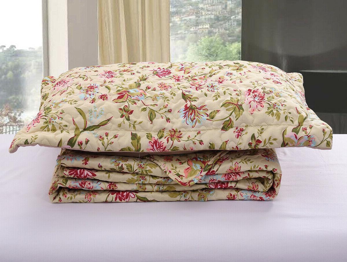 3-Piece Quilt Set Bedspread Spring Floral Reversible Bedding
