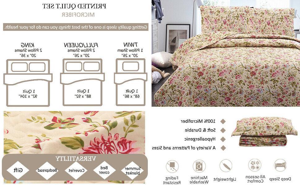 3-Piece Quilt Spring Rose Coverlet Reversible Set