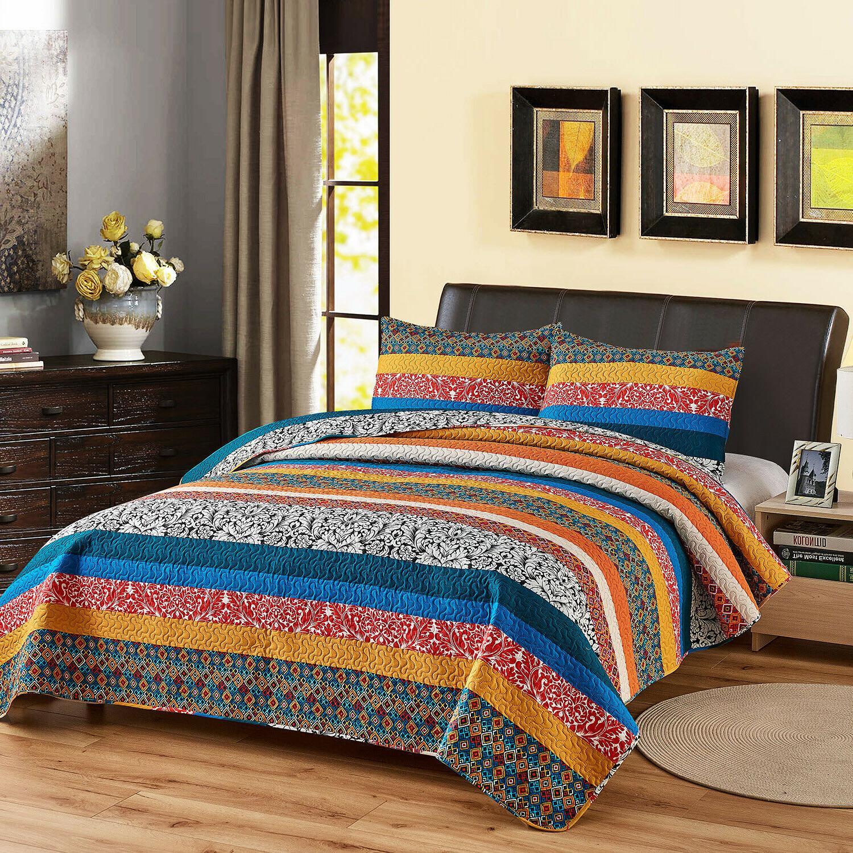 3 Piece King Plaid Bedspread Set