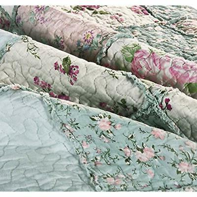 3-Piece Quilt Sets Floral Vintage Washed Reversible Patchwork