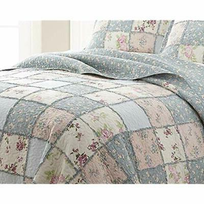 3-Piece Quilt Garden Floral Vintage Washed Reversible Patchwork