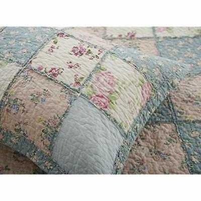 3-Piece Quilt Floral Washed Reversible Patchwork