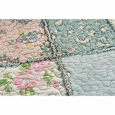 3-Piece Quilt Floral 100%-Cotton Reversible