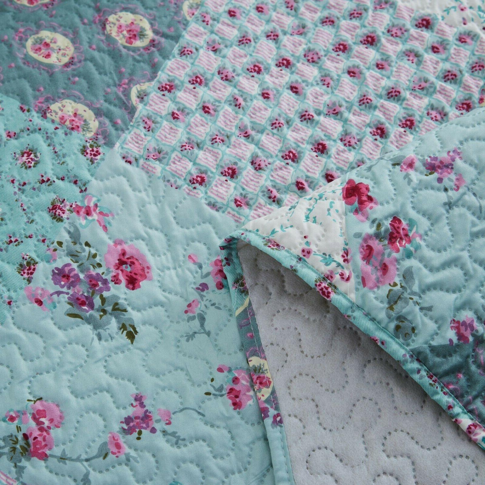 3 Piece Queen King Plaid Bedspread