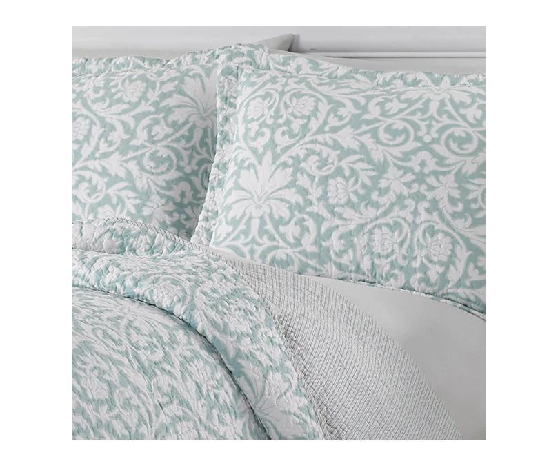 3 Piece Set King Size Aqua Floral Bedspread Girls