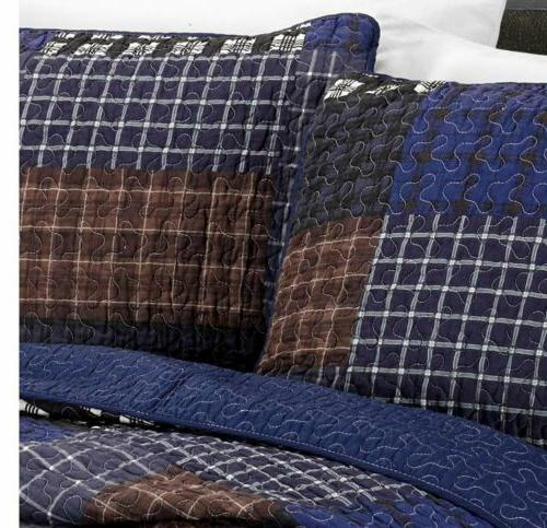 3-Piece Sherman Printed Plaid Patchwork 100% Washed Quilt