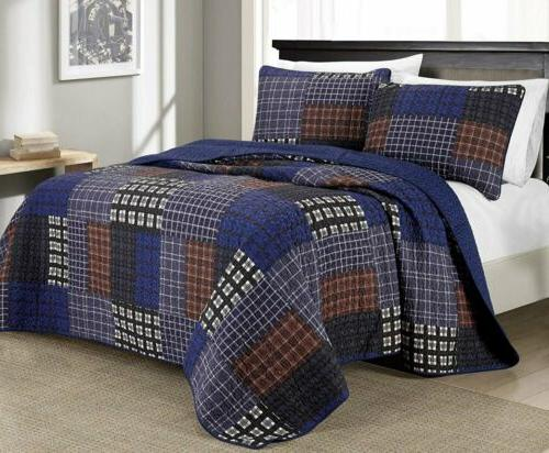 3 piece sherman printed plaid patchwork 100