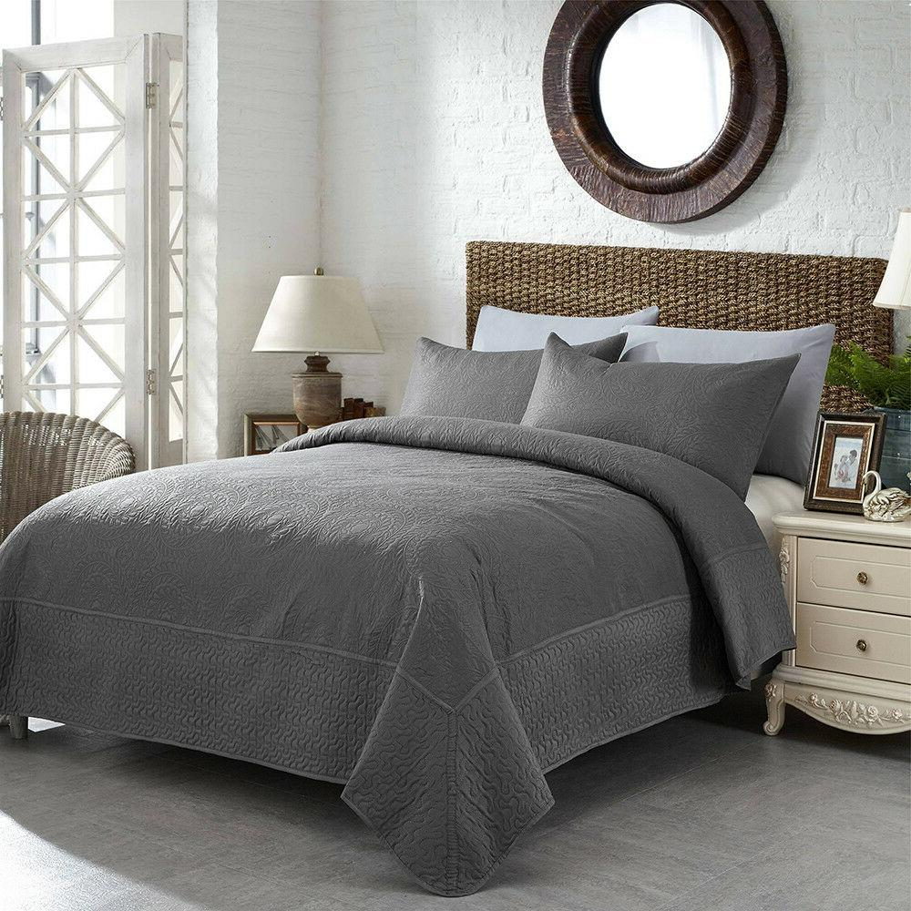 3 Piece Solid Quilt Set Lightweight
