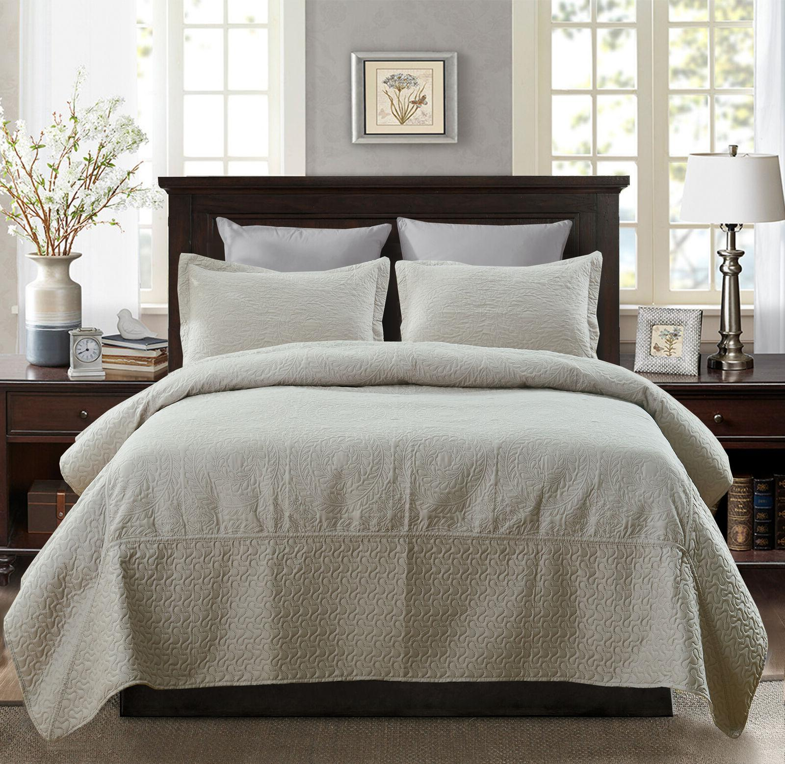 3 piece solid bedding quilt set soft