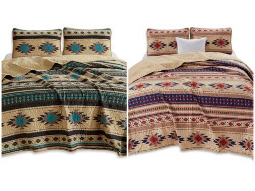 3 piece southwestern tribal multi color quilt