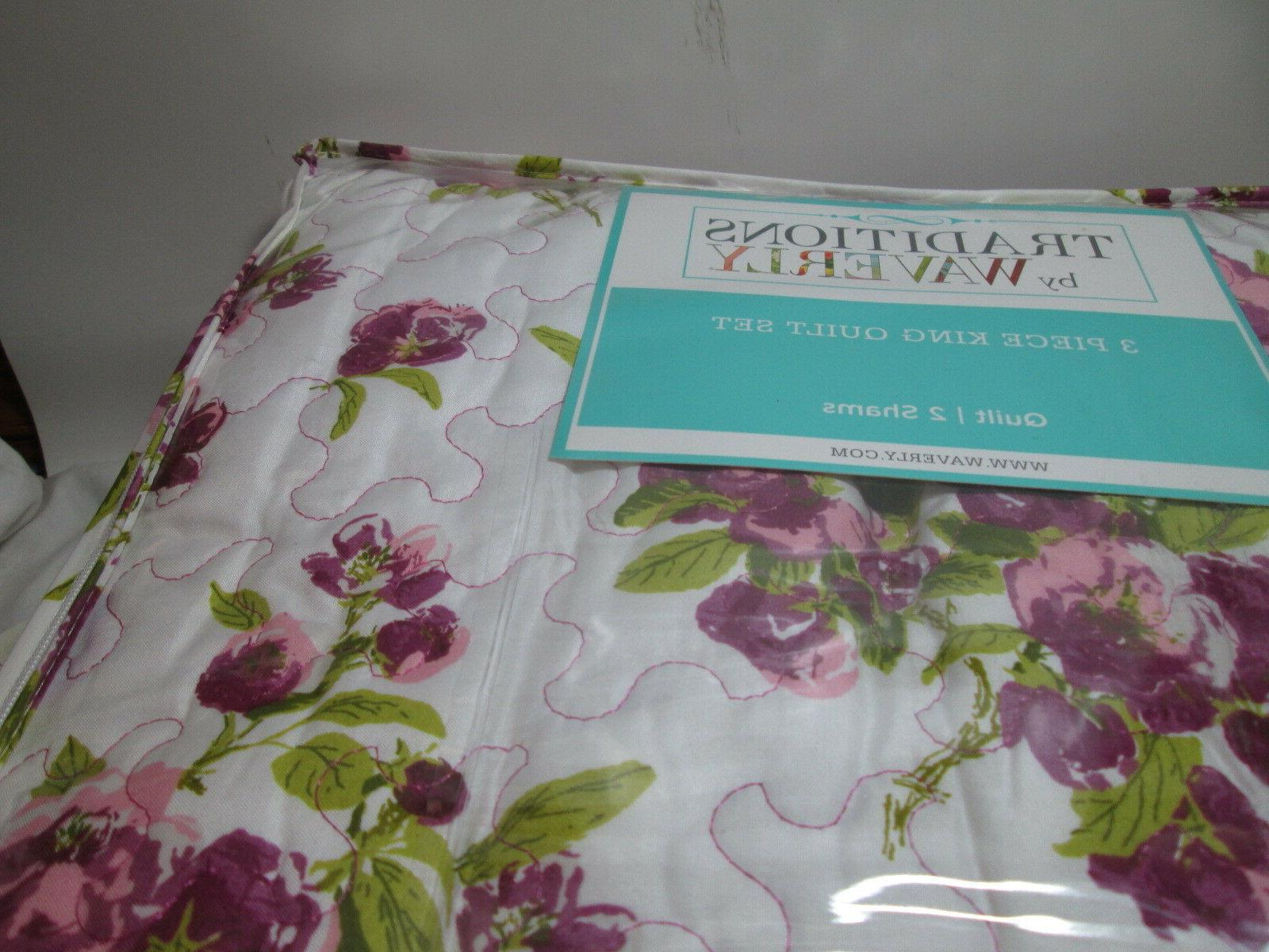 3 pieces Traditions by Waverly Violet Floral King Quilt NEW