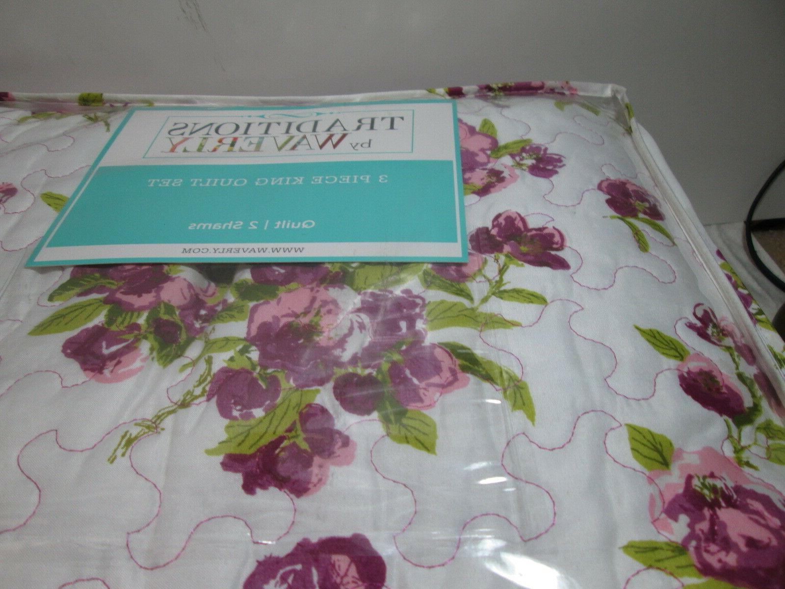 3 Floral King Quilt NEW