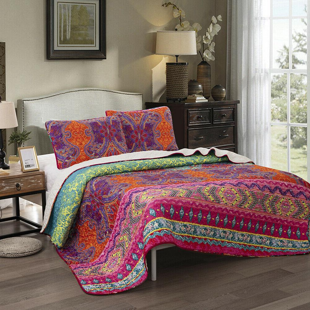 3Pieces Coverlet Set Oversized Bed Cover Queen US