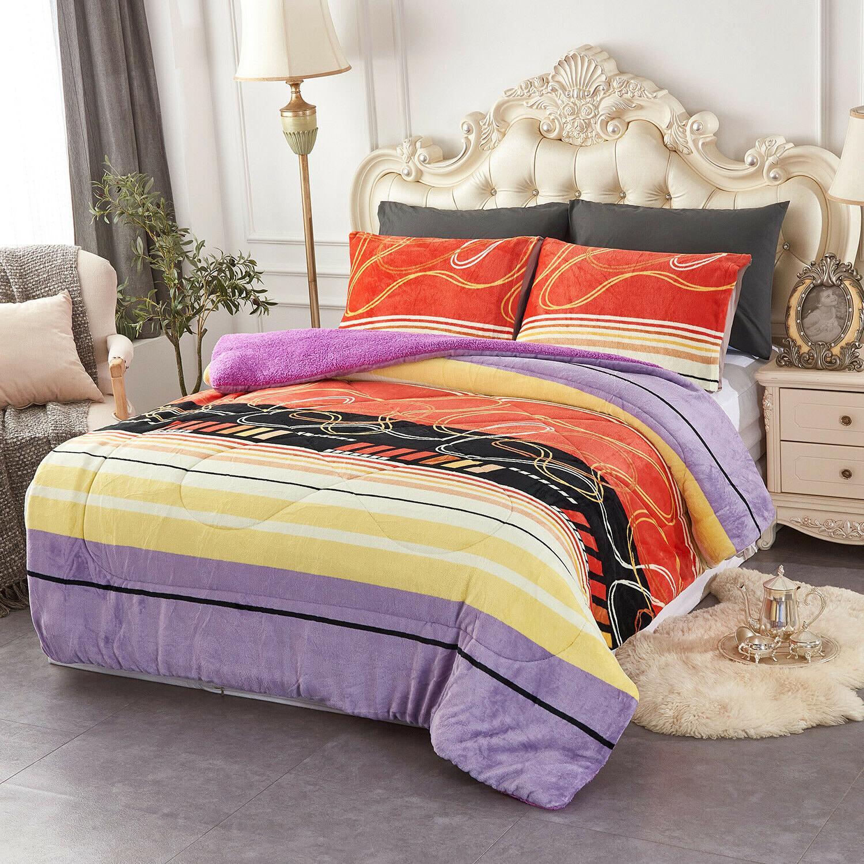 3 Pieces Fleece Comforter Comforter Q/K/Cal King