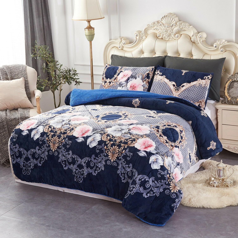 3 Pieces Fleece Comforter Set Comforter Q/K/Cal King