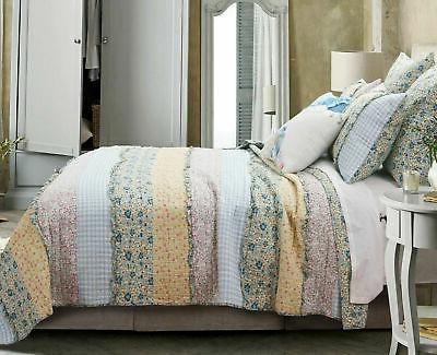 3p Bluebell Ditzy Ruffle Queen Quilt floral gingham yellow Country farmhouse
