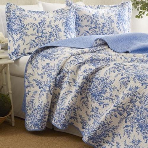 Laura Ashley 3pc Blue Reversible Quilt Set Full Queen Cotton
