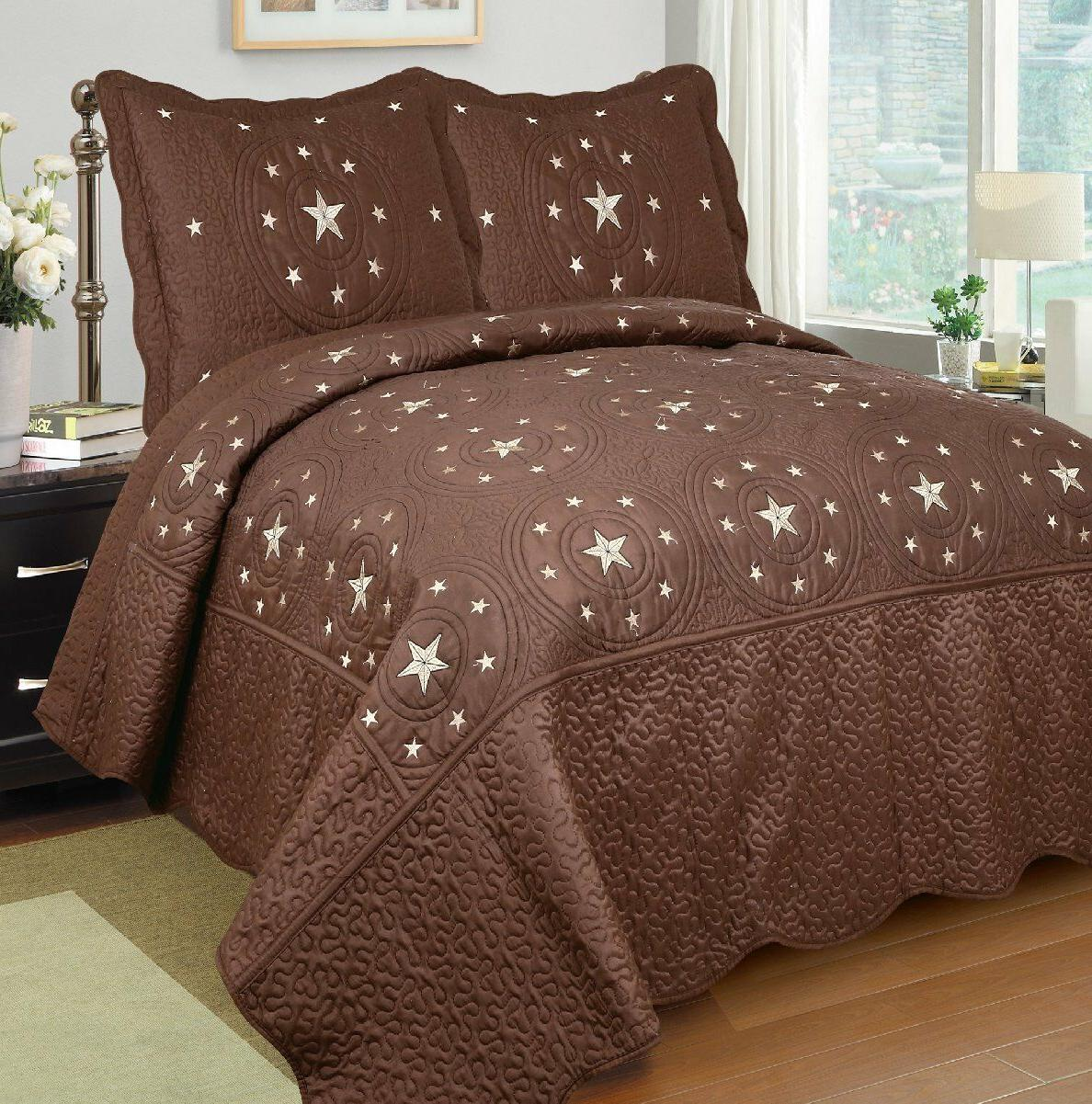 Fancy Linen 3pc Brown Texas Star Bedspread Quilt Set Embroid