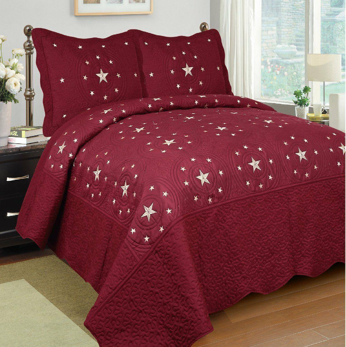 3pc burgundy star bedspread quilt set embroidery