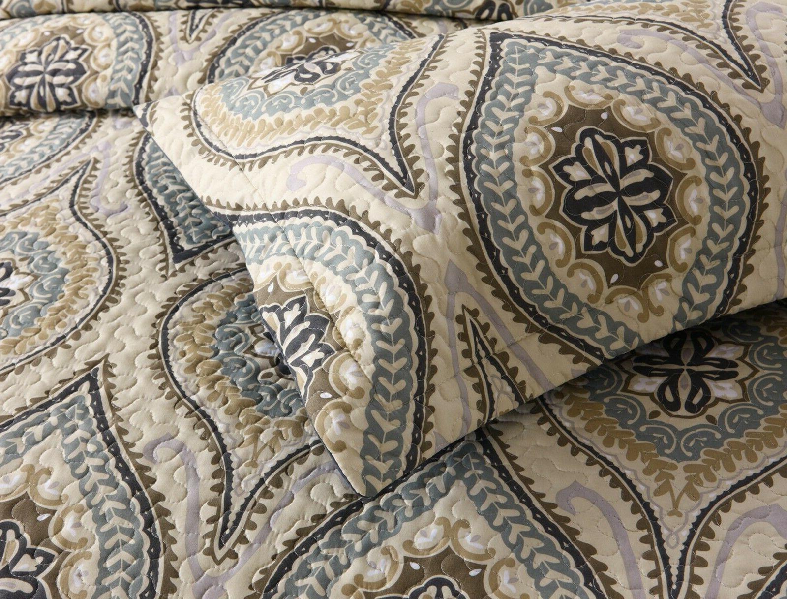 3Pc Quilt Bedspread Bedding Coverlet Queen