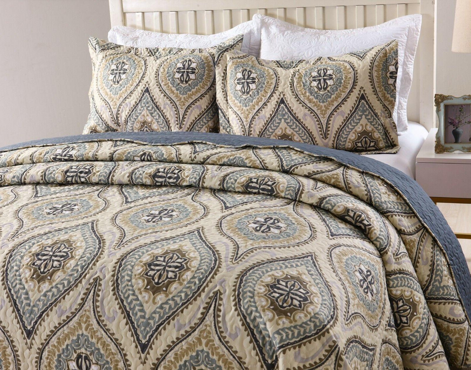 3pc quilt bedspread sets bedding coverlet bedroom