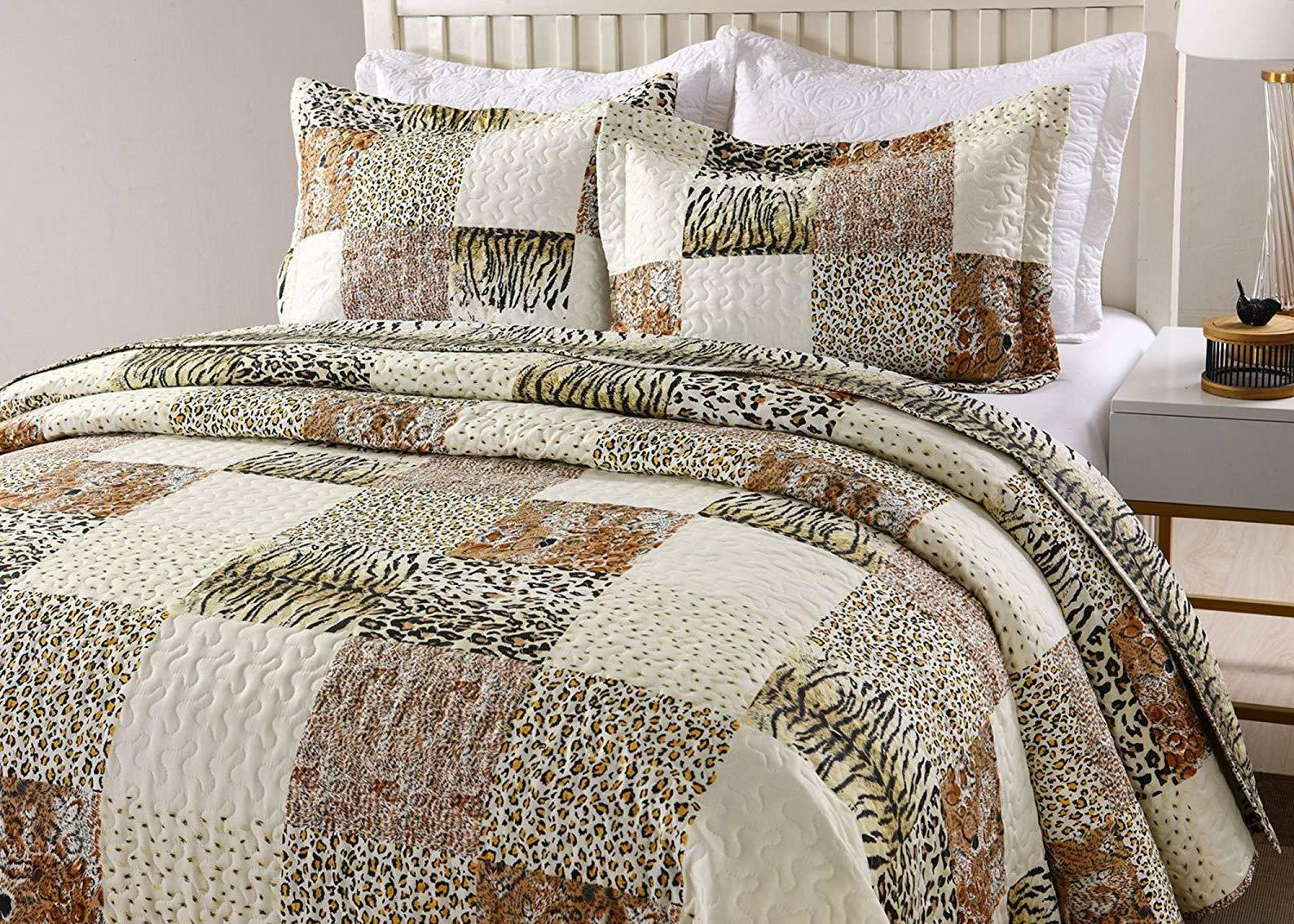 3Pc Quilt Bedspread Sets Bedding Coverlet Bedroom Cheetah Ca