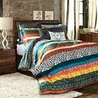 Boho Stripe Reversible King Quilt Set 3pc Bed Room Patch Wor