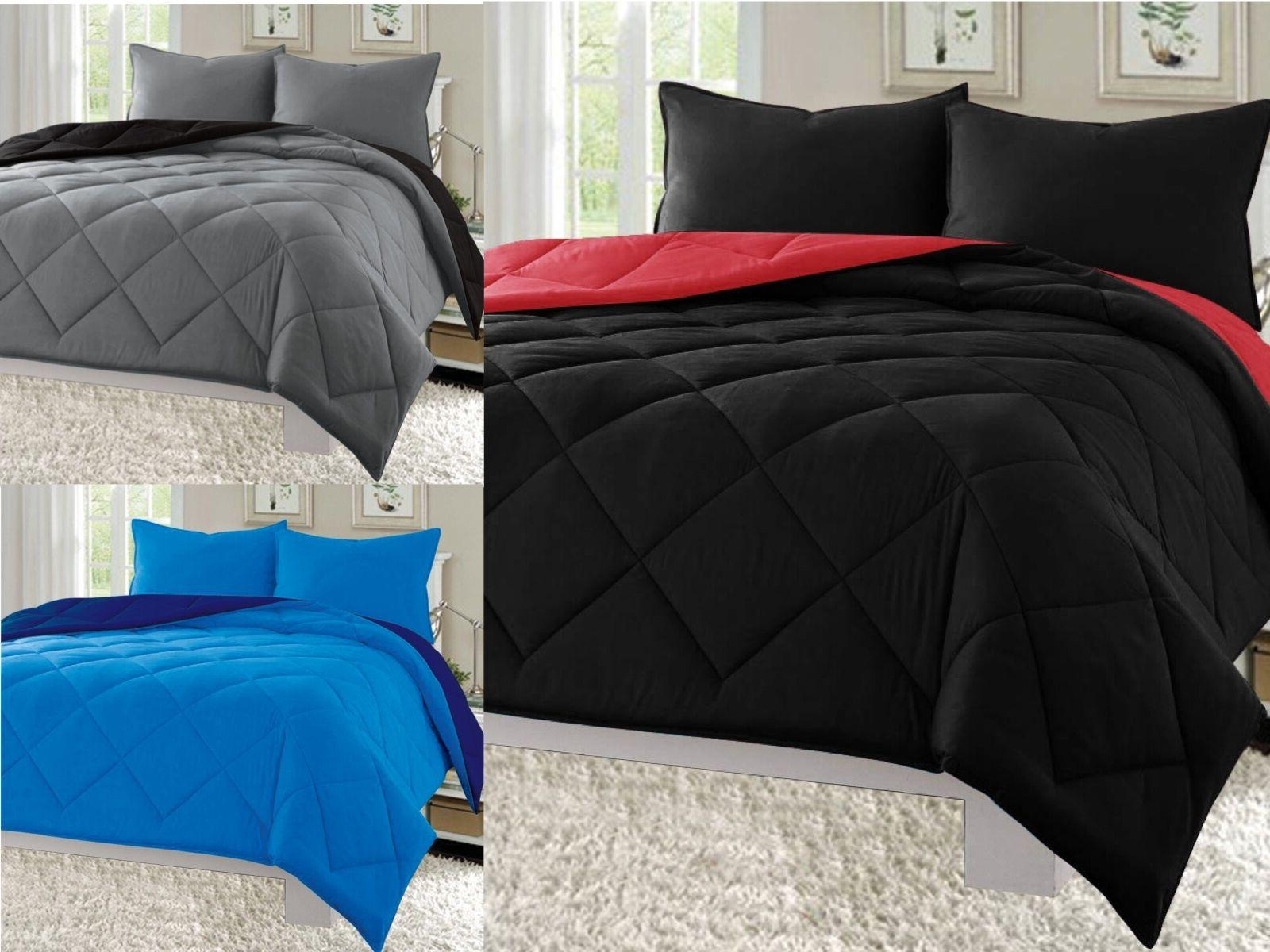 3pc reversible comforter set microfiber quilted bed
