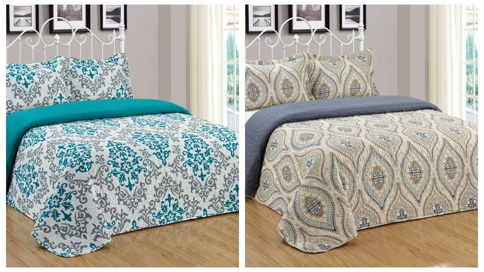 3pc reversible quilt set bedspread bedding coverlet